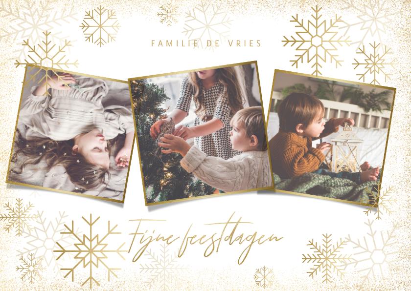 Kerstkaarten - Stijlvolle kerstkaart fotocollage met gouden sneeuwvlokken