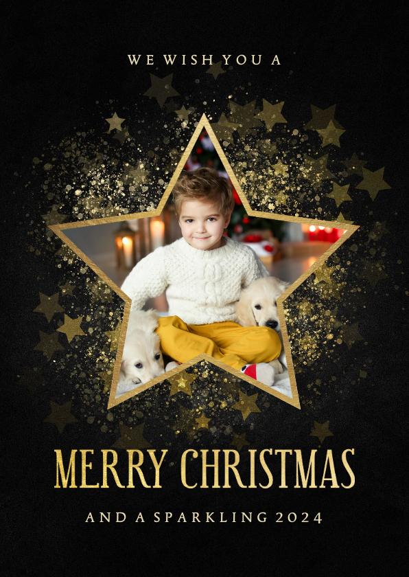 Kerstkaarten - Stijlvolle kerstkaart gouden ster met foto