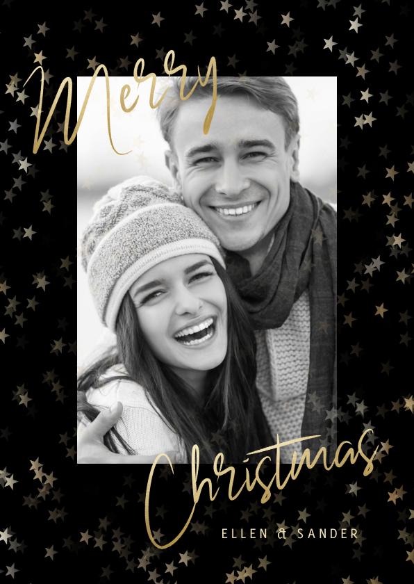 Kerstkaarten - Stijlvolle kerstkaart grote foto, sterren en Merry Christmas