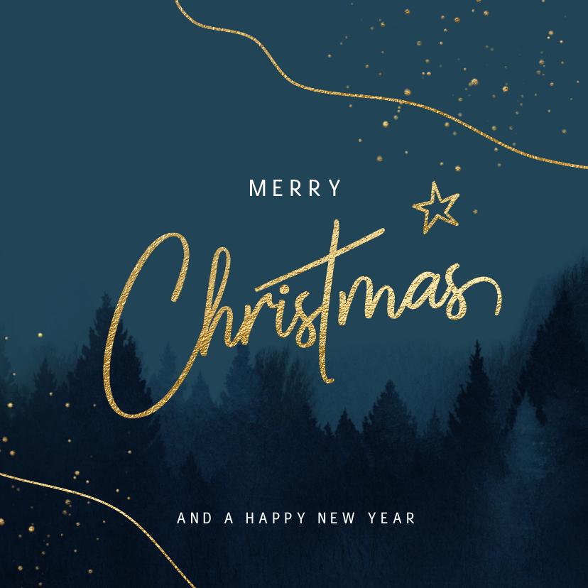 Kerstkaarten - Stijlvolle kerstkaart kerstbomen aquarel blauw
