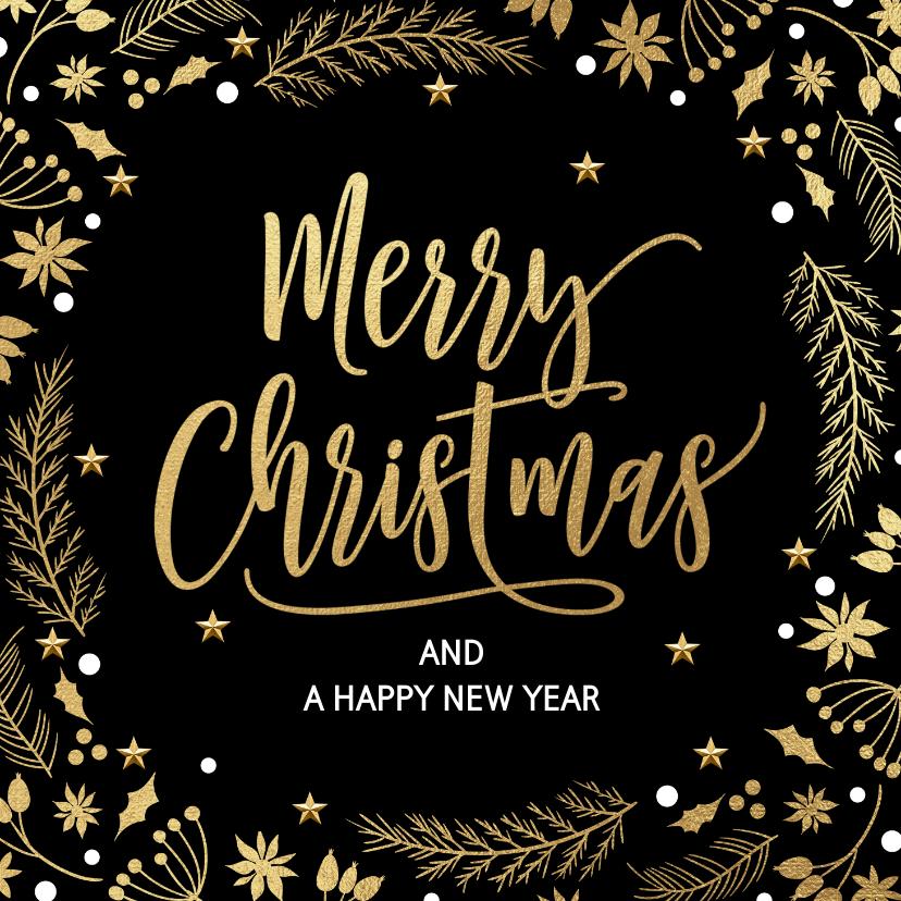 Kerstkaarten - Stijlvolle kerstkaart kersttakjes zwart goud