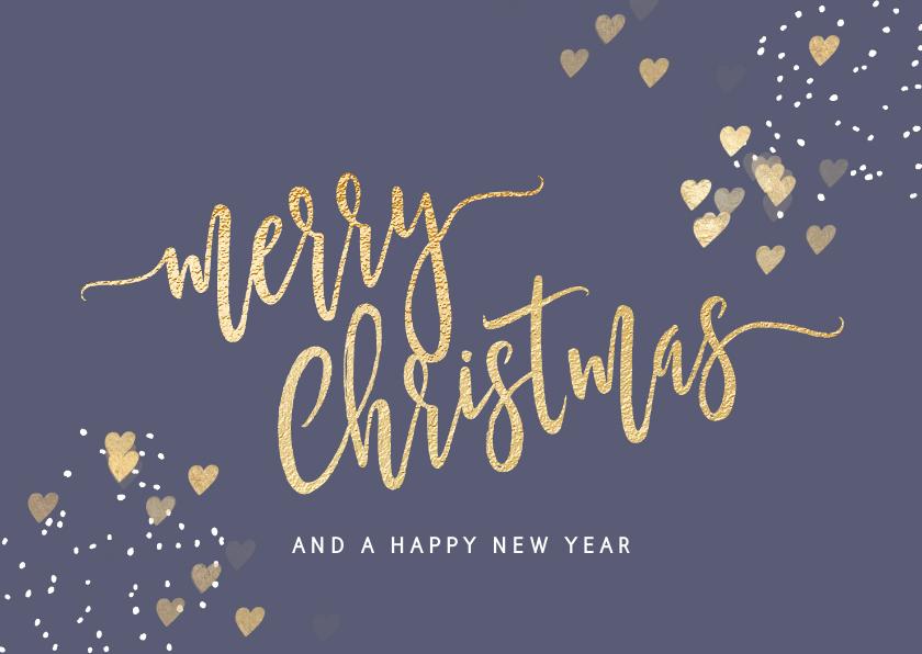 Kerstkaarten - Stijlvolle kerstkaart Merry Christmas paars goud