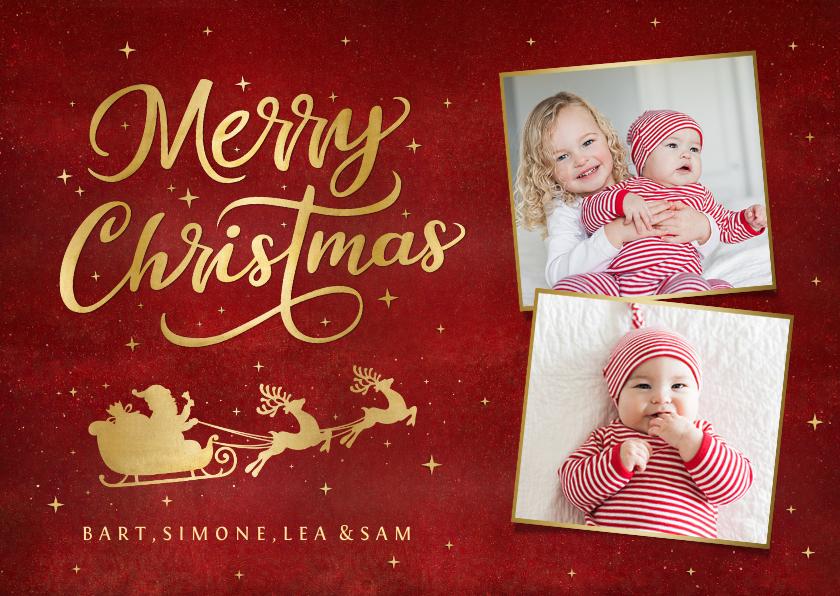 Kerstkaarten - Stijlvolle kerstkaart met 2 eigen foto's en gouden arrenslee