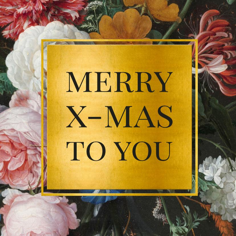 Kerstkaarten - Stijlvolle kerstkaart met bloemen en goud Jan Davidsz