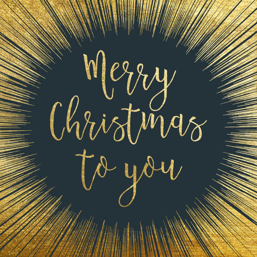Kerstkaarten - Stijlvolle kerstkaart met goud kader en typografie