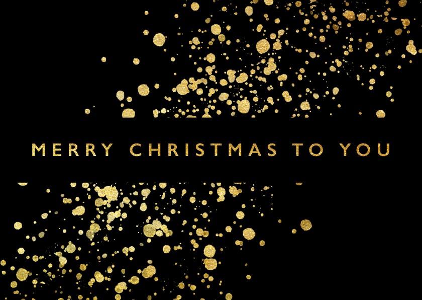 Kerstkaarten - Stijlvolle kerstkaart met gouden spetters en typografie