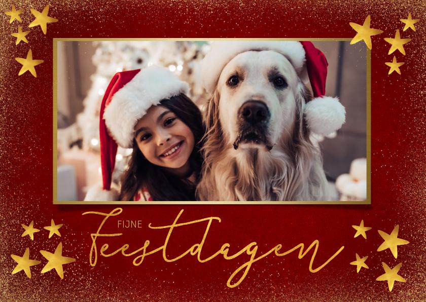 Kerstkaarten - Stijlvolle kerstkaart met gouden sterren en grote foto