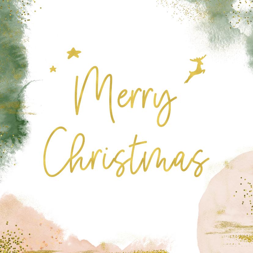 Kerstkaarten - Stijlvolle kerstkaart met goudlook en waterverf