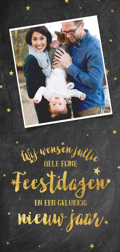Kerstkaarten - Stijlvolle kerstkaart met goudlook typografie en sterren