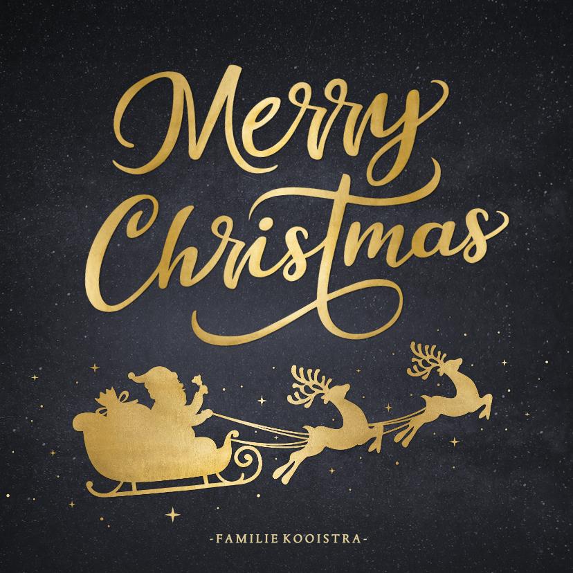 Kerstkaarten - Stijlvolle kerstkaart met silhouet van kerstman in arrenslee