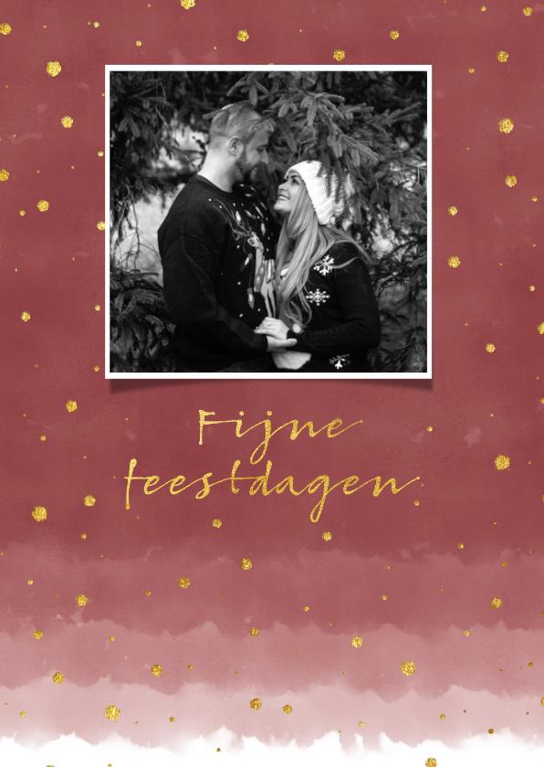 Kerstkaarten - Stijlvolle kerstkaart met waterverf en goudlook confetti