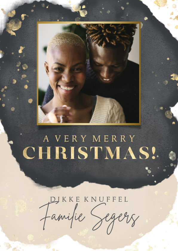 Kerstkaarten - Stijlvolle kerstkaart met zwarte, beige waterverf en foto