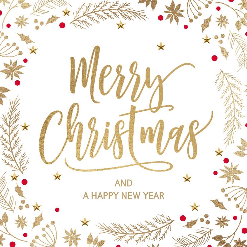 Kerstkaarten - Stijlvolle kerstkaart wit goud merry christmas