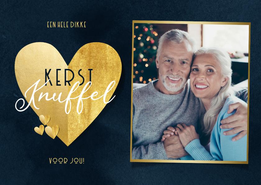 Kerstkaarten - Stijlvolle kerstknuffel met gouden hart foto donkerblauw