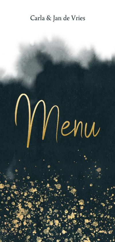 Kerstkaarten - Stijlvolle menukaart blauwe waterverf, goud spetters & tekst