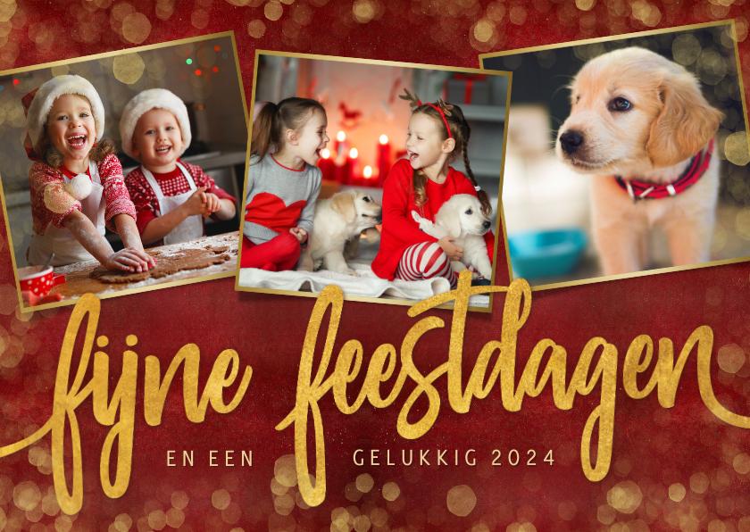 Kerstkaarten - Stijlvolle rode fotocollage kerstkaart met 3 foto's en goud
