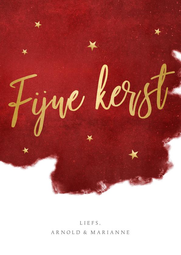 Kerstkaarten - Stijlvolle rode kerstkaart met goudlook letters fijne kerst