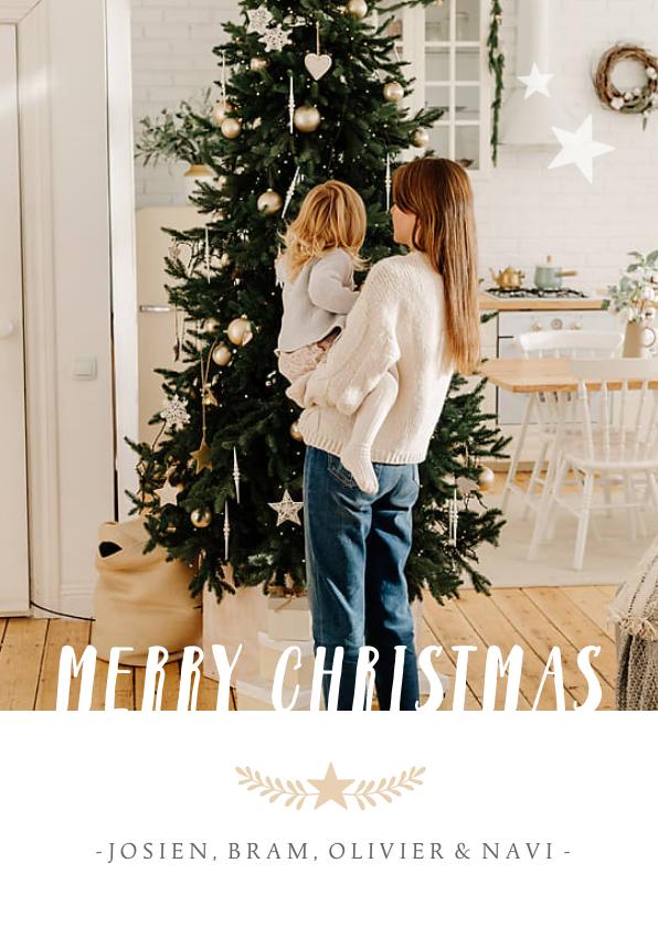 Kerstkaarten - Stijlvolle staande kerstkaart met grote foto en eigen namen