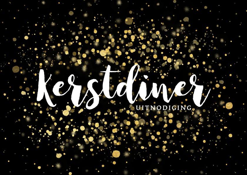 Kerstkaarten - Stijlvolle uitnodiging kerstdiner gouden confetti
