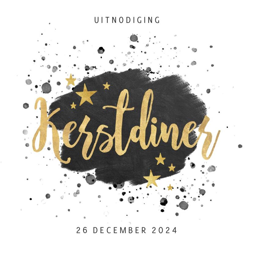 Kerstkaarten - Stijlvolle uitnodiging kerstdiner zwarte verf & gouden tekst