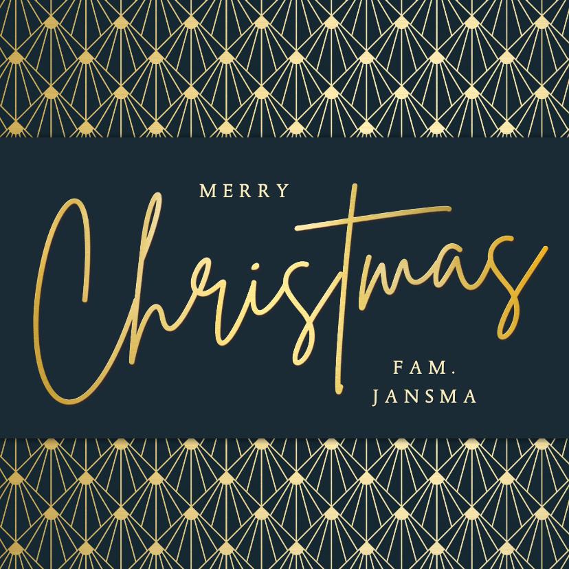 Kerstkaarten - Stijlvolle vierkante art-deco kerstkaart met goud en blauw