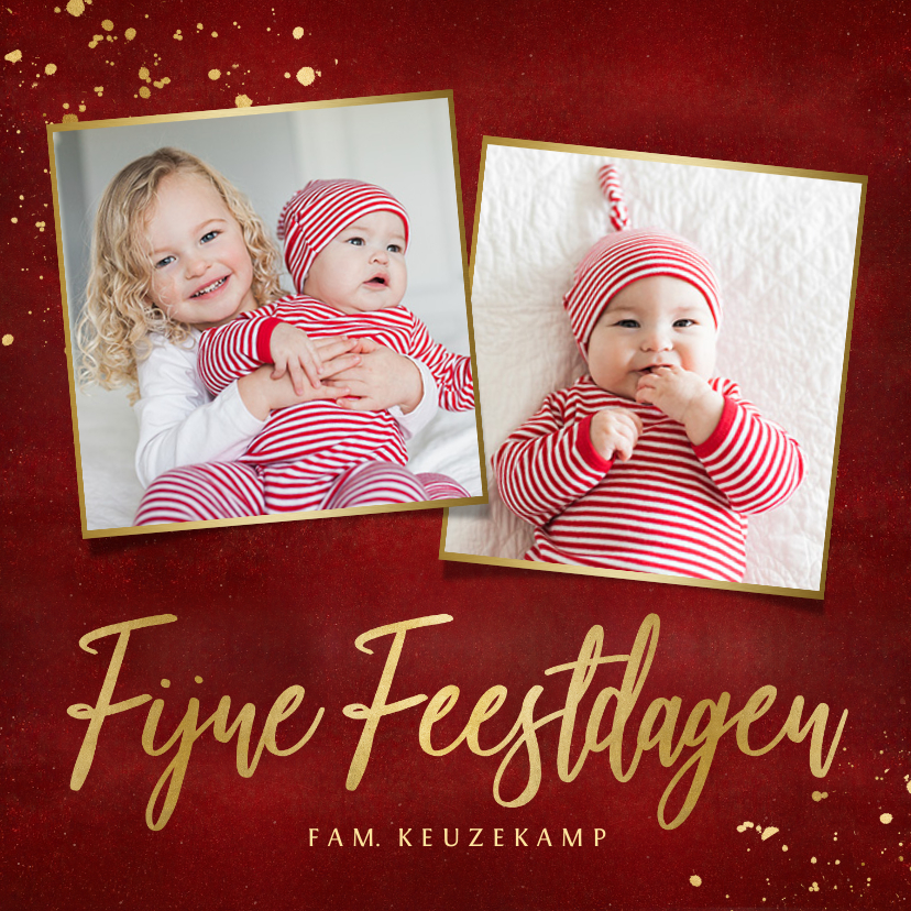 Kerstkaarten - Stijlvolle vierkante rode kerstkaart eigen foto's en goud