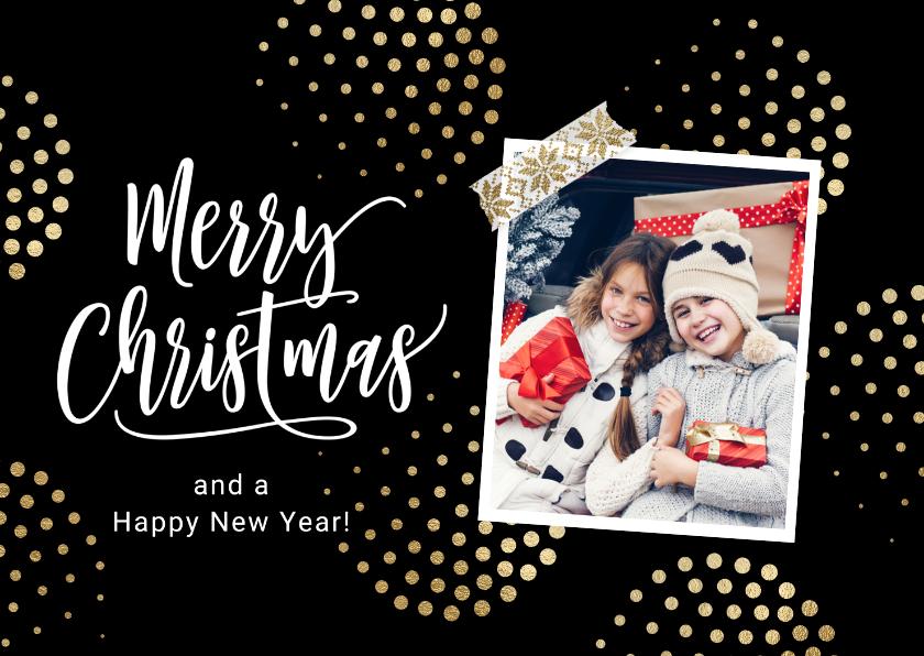 Kerstkaarten - Stijlvolle vrolijke kerstkaart met foto en goud ballen