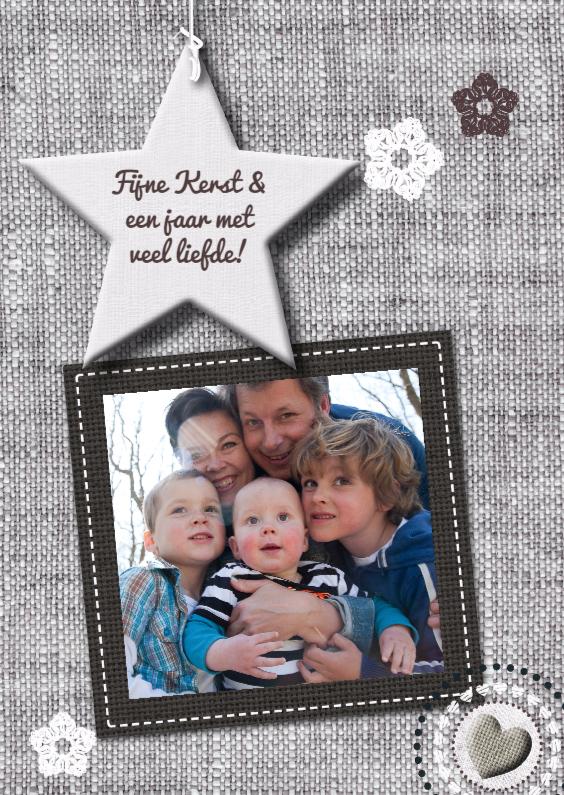Kerstkaarten - Stoffen-look ster foto eigen txt