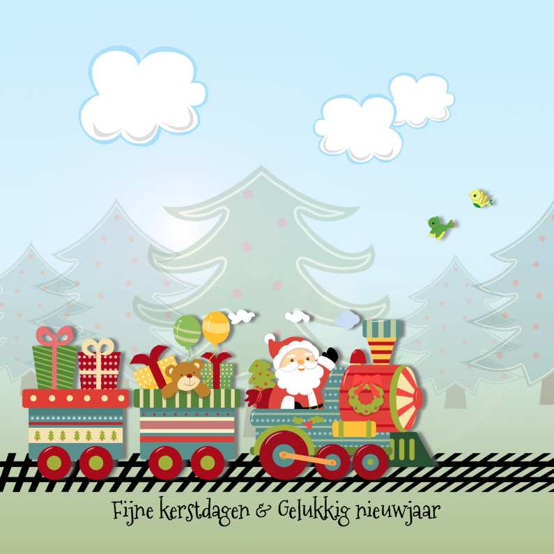 Kerstkaarten - Treinwagons met speelgoed