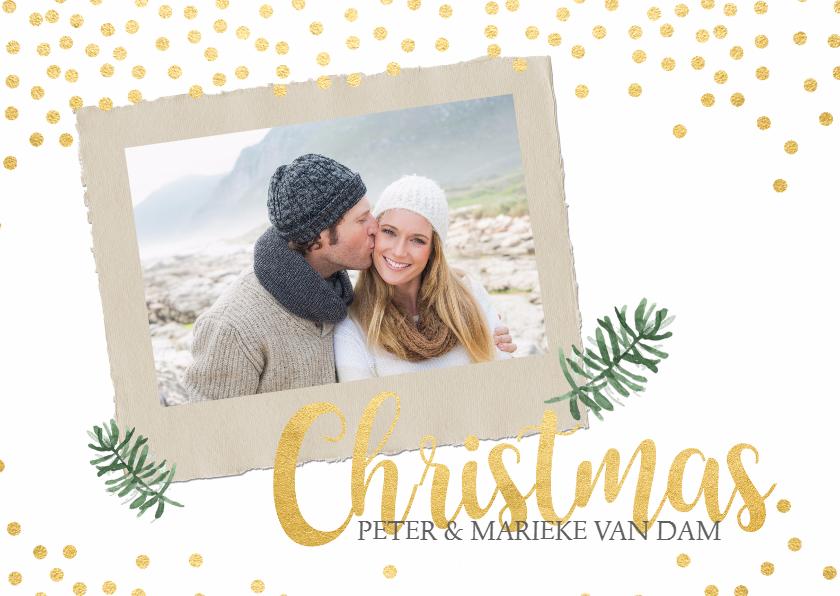 Kerstkaarten - Trendy kerstkaart goud en foto