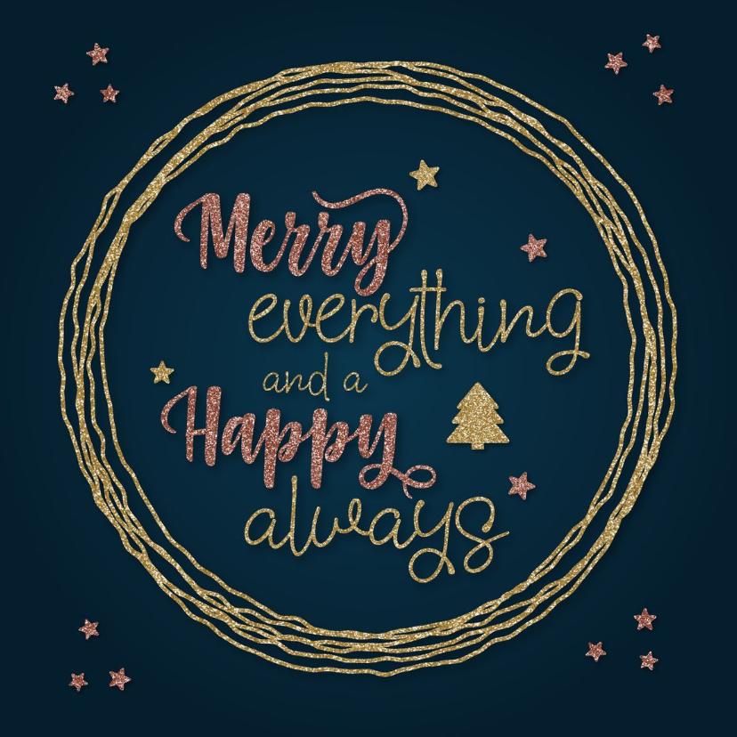 Kerstkaarten - Trendy kerstkaart Merry everything & Happy always