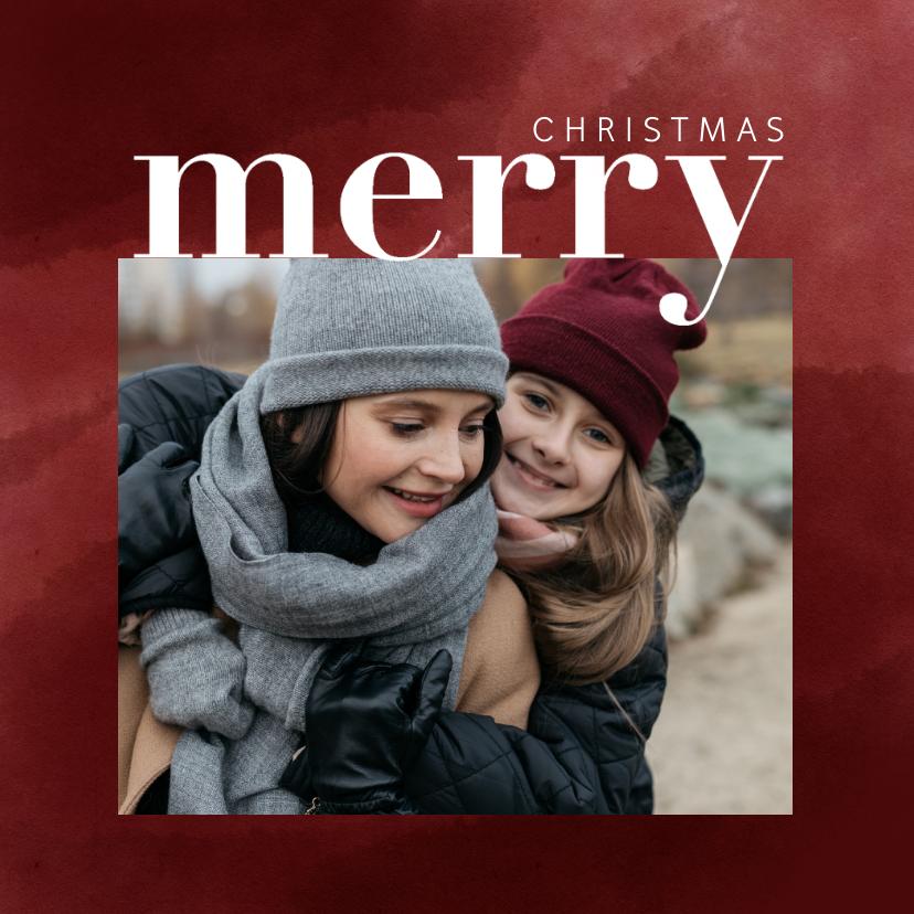 Kerstkaarten - Trendy kerstkaart met foto, waterverf en merry christmas