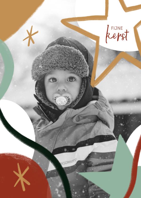 Kerstkaarten - Trendy kerstkaart met grote foto en ster illustraties