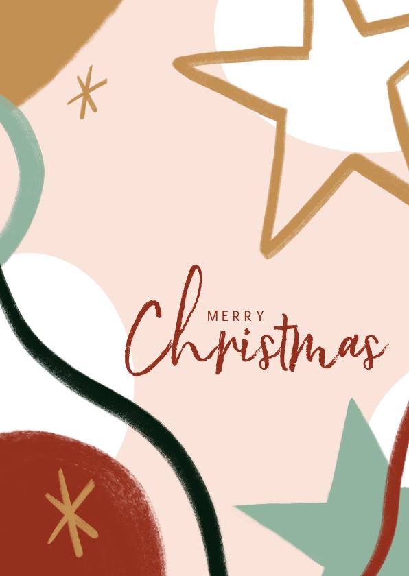 Kerstkaarten - Trendy kerstkaart met merry christmas en sterren illustratie