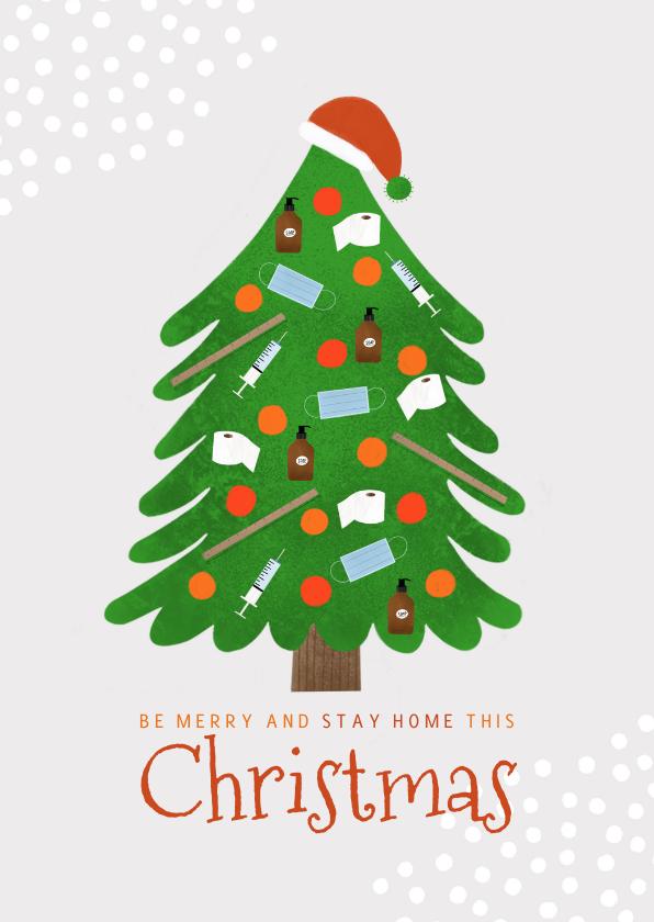 Kerstkaarten - Trendy kerstkaart stay home corona kerstboom en sneeuw
