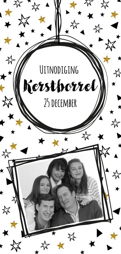 Kerstkaarten - Uitnodiging Borrel confetti zwart wit goud