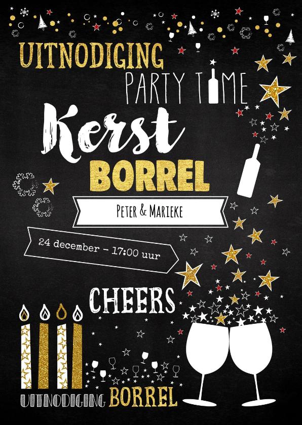 Kerstkaarten - Uitnodiging 'kerst' borrel trendy typografische kaart