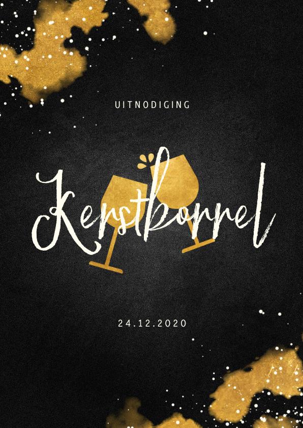 Kerstkaarten - Uitnodiging kerstborrel met proostende glazen goud