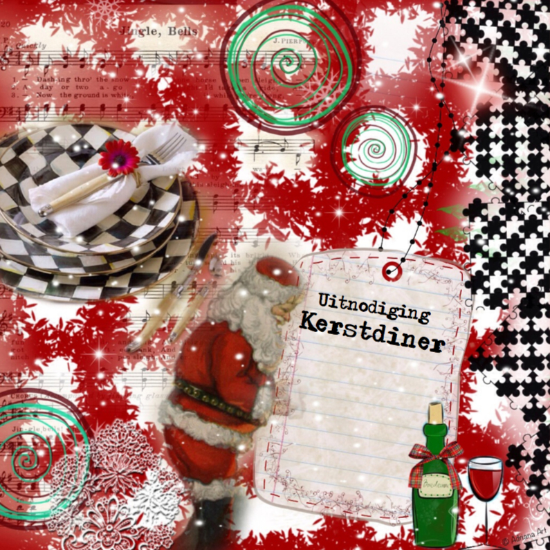 Kerstkaarten - Uitnodiging Kerstdiner mixed media