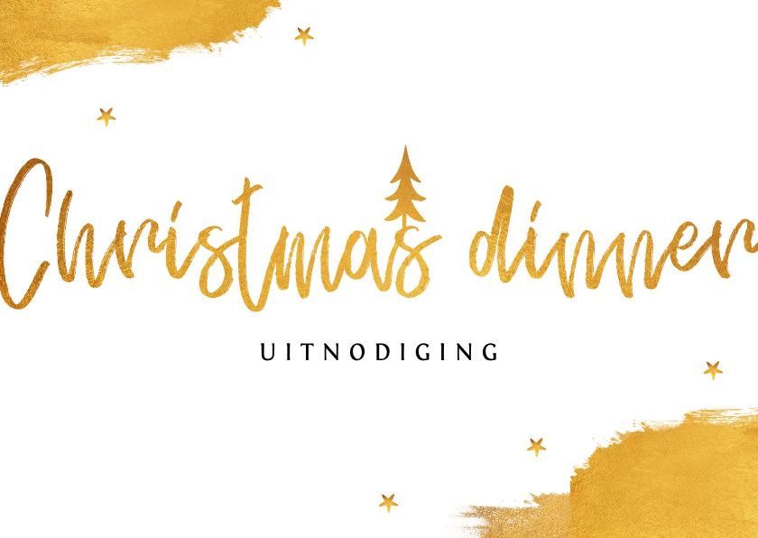 Kerstkaarten - Uitnodiging kerstdiner stijlvol goud met sterren