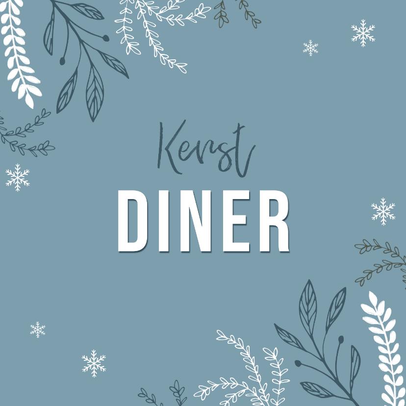 Kerstkaarten - Uitnodiging kerstdiner stijlvol winter pastel blauw
