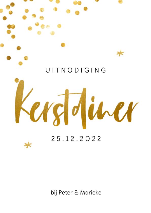 Kerstkaarten - Uitnodiging voor een kerstdiner met gouden confetti