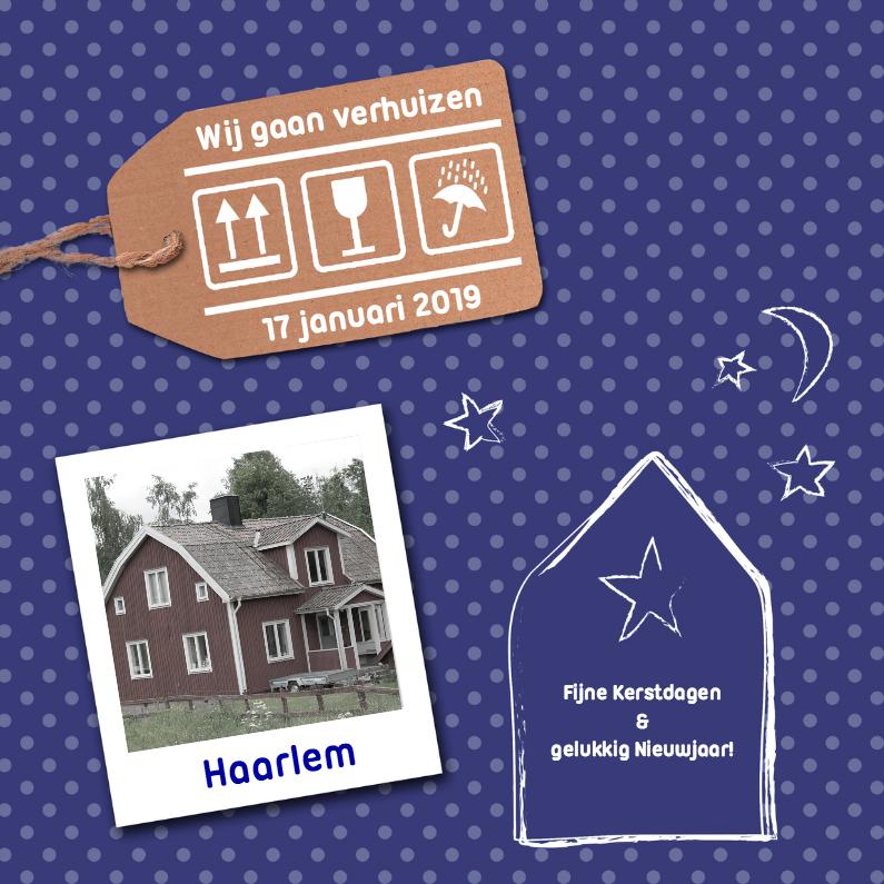 Kerstkaarten - verhuiskaart december blauw