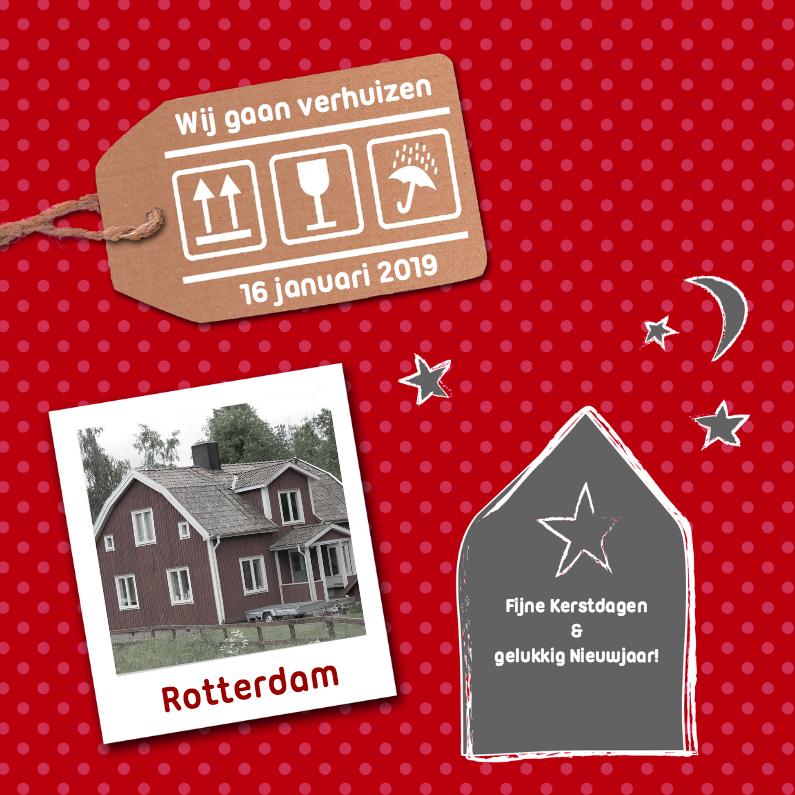 Kerstkaarten - verhuiskaart december rood