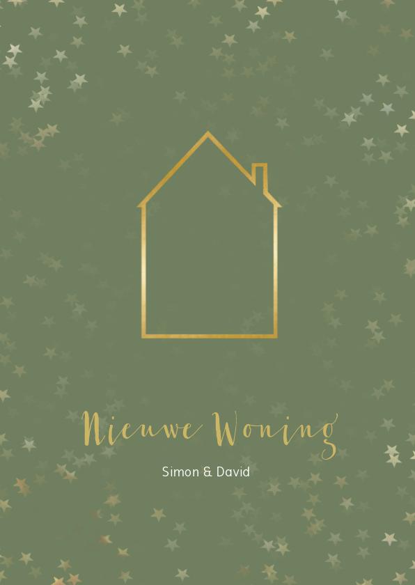 Kerstkaarten - Verhuiskaart kerst groen staand met huis - Een gouden kerst