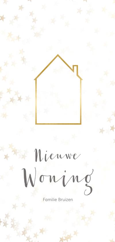 Kerstkaarten - Verhuiskaart kerst langwerpig met huisje - BK