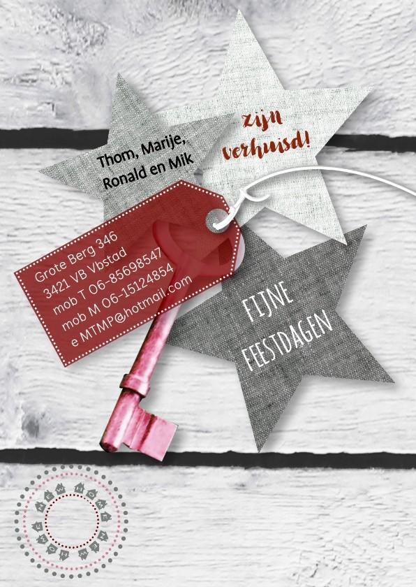 Kerstkaarten - Verhuiskaart sleutel ster koper