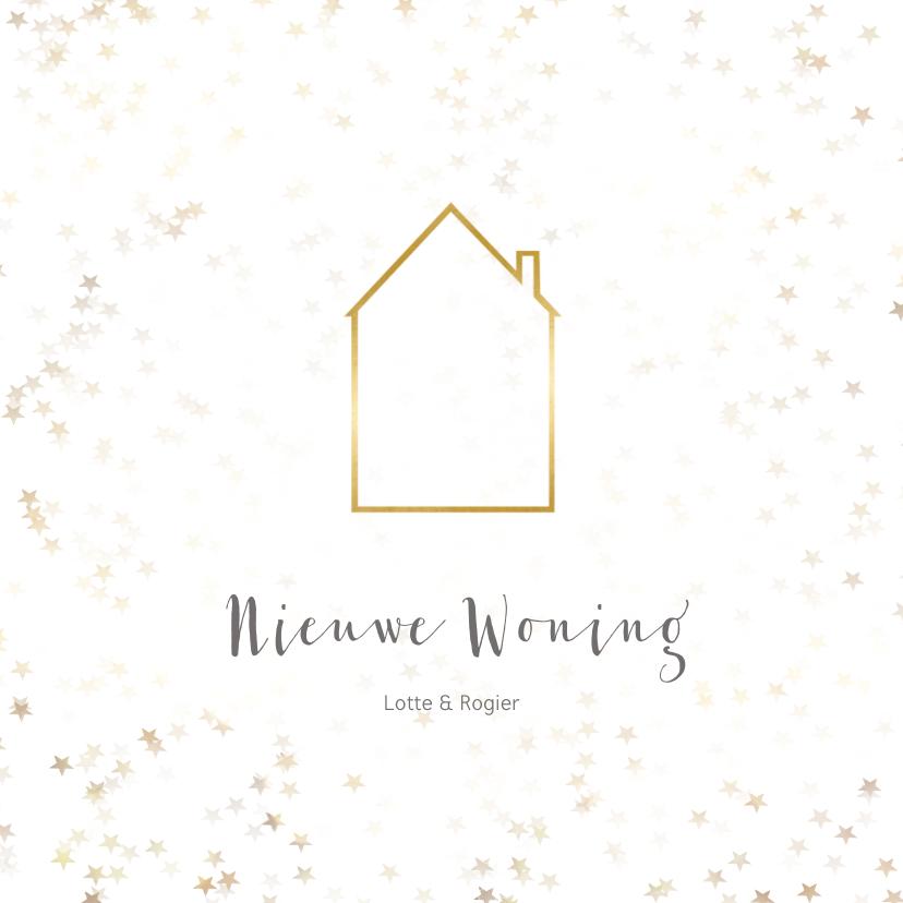 Kerstkaarten - Verhuiskaart vierkant met huis - Een gouden kerst
