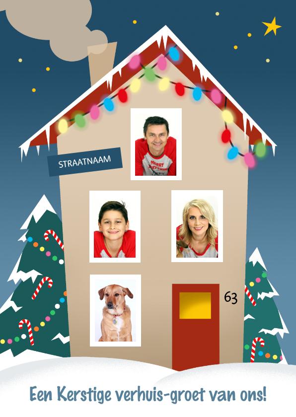 Kerstkaarten - Verhuizing met kerst fotocollage