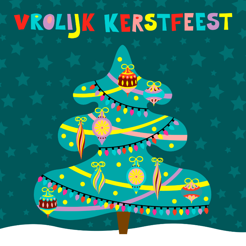 Kerstkaarten - Versierde kerstboom kerstkaart